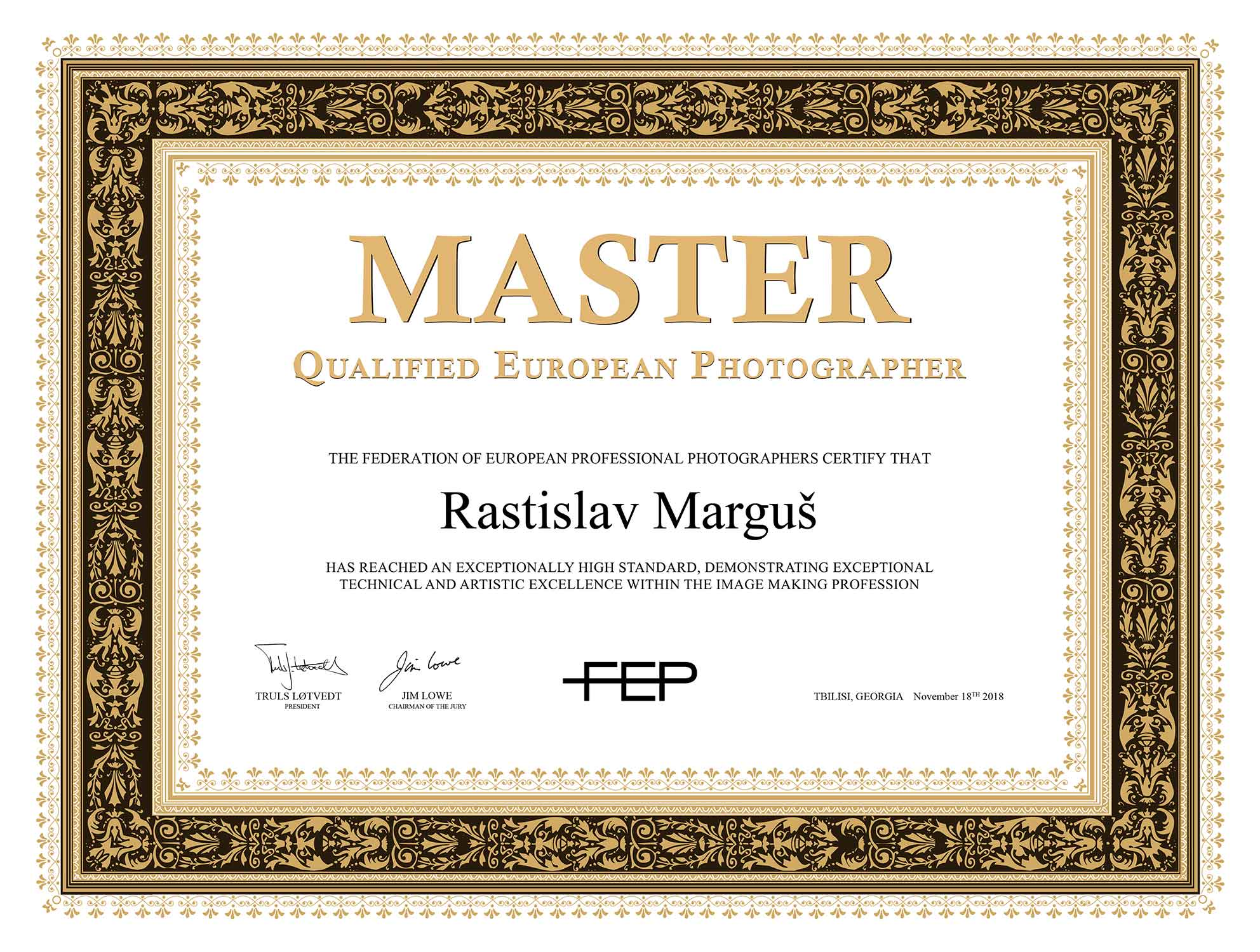 Master Qualified European Photographer Certificate