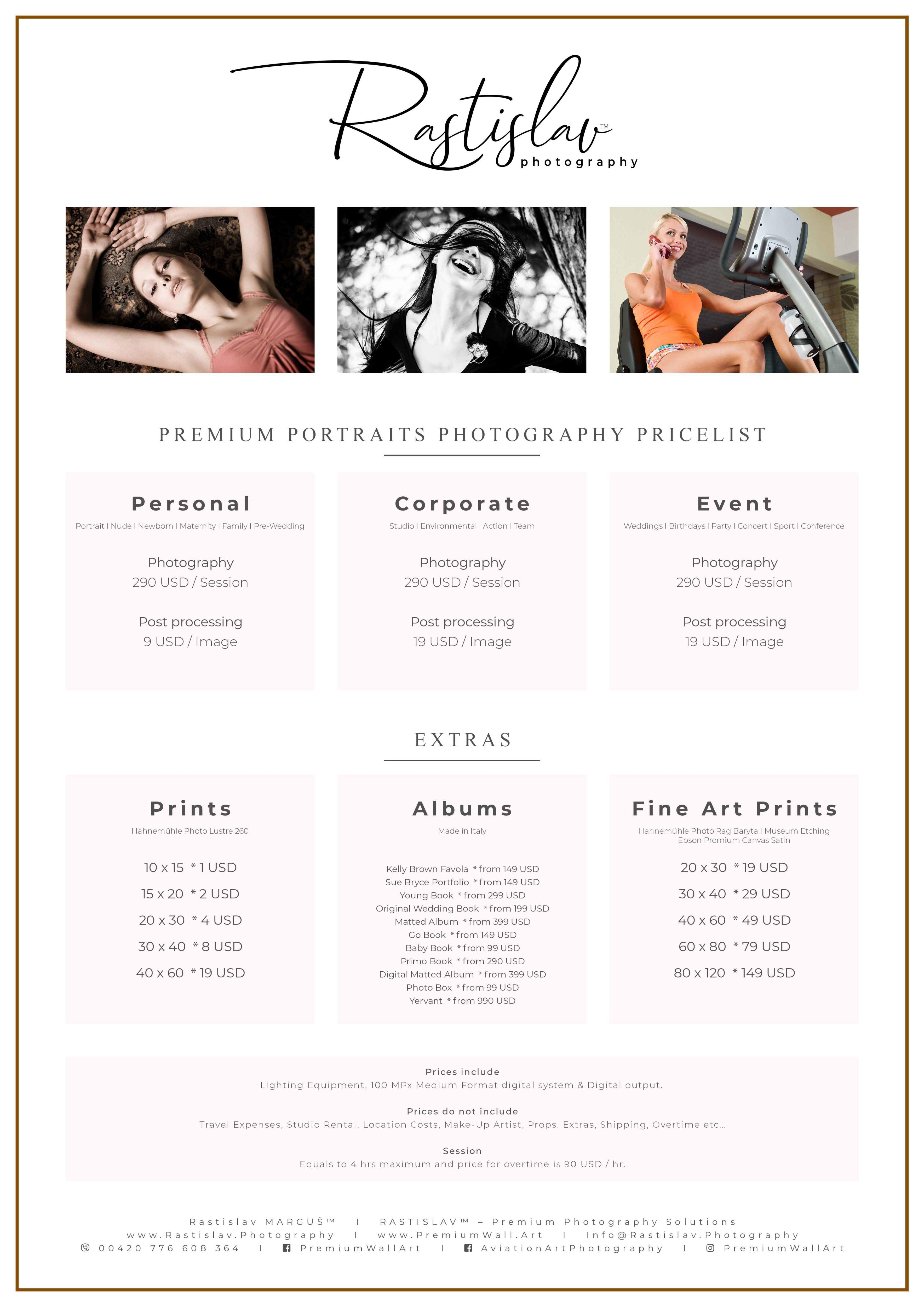 Premium Portraits Pricelist